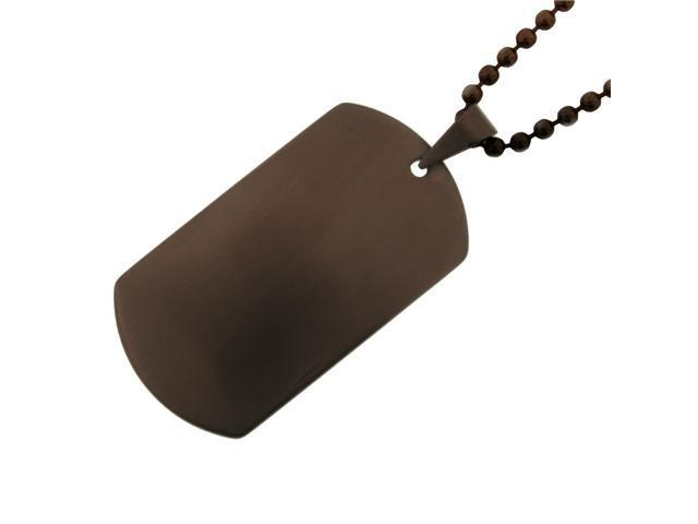 Men's Stainless Steel Dog Tag Pendant with Black Ion Plating