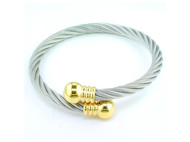 Ladies Stainless Steel Cable Bracelet with Gold Ion Plating