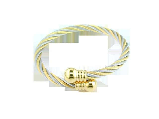 Ladies Gold Plated Stainless Steel Cable Bracelet