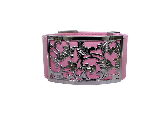 Metro Jewelry Stainless Steel Cut Out Pink Leather Cuff Bracelet