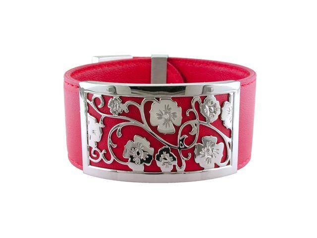 Ladies Stainless Steel Red Leather Cuff
