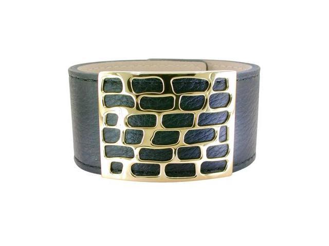 Metro Jewelry Stainless Steel Cut Out Black Leather Cuff Bracelet with Gold Ion Plating