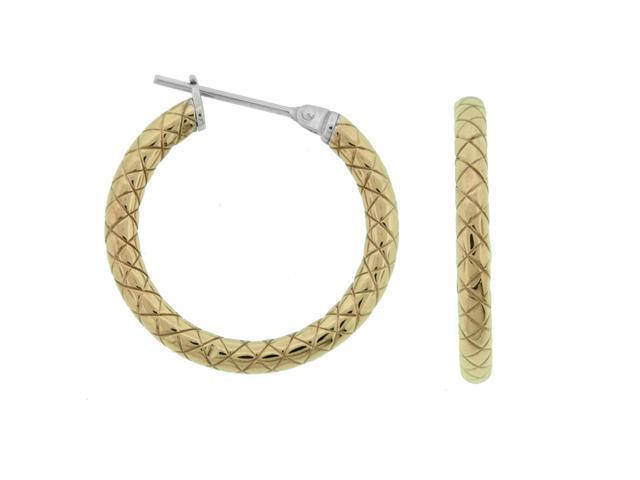 Metro Jewelry Textured Gold Gold-Tone Steel Fashion Hoop Earrings