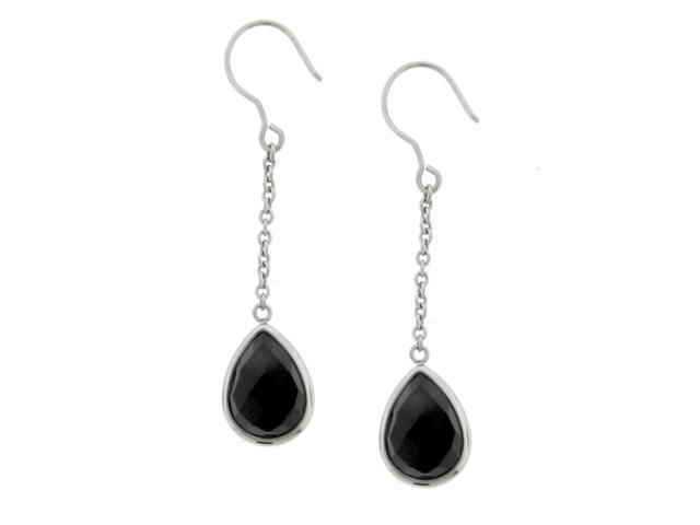 Ladies Stainless Steel Earring With Checker Onyx Dangle Hook