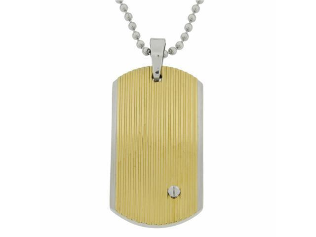 Stainlss Steel Dog Tag with Hexagon Screw & Gold Ion Plating