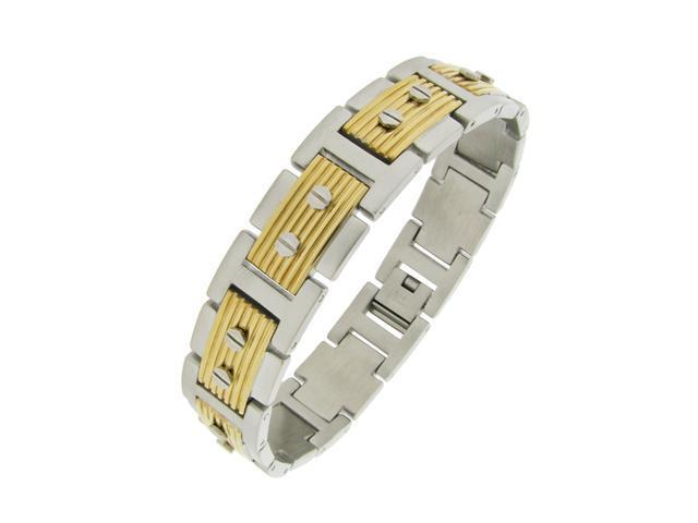 Stainless Steel Bracelet With Hexagon Screw with Gold Ion Plating