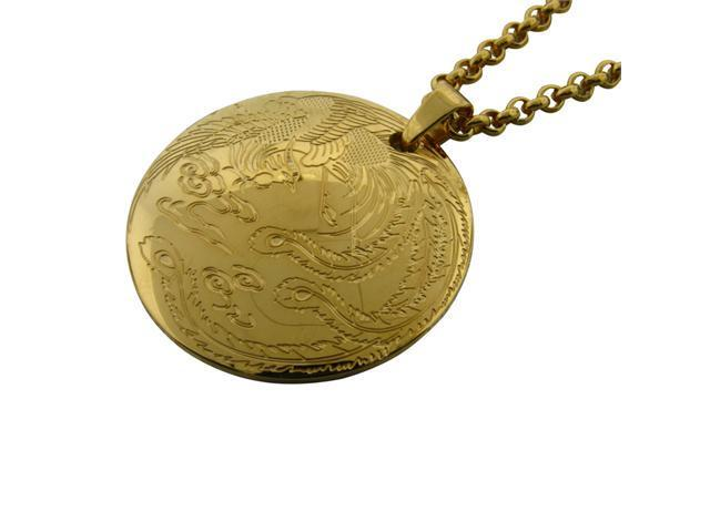 Stainless Steel Circle Pendant with Gold Ion Plating