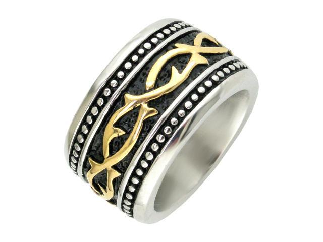 Stainless Steel  Ring with Gold Ion Plating Size 12