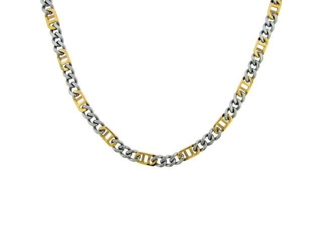 Stainless Steel Necklace With 18KT Yellow Gold Plating