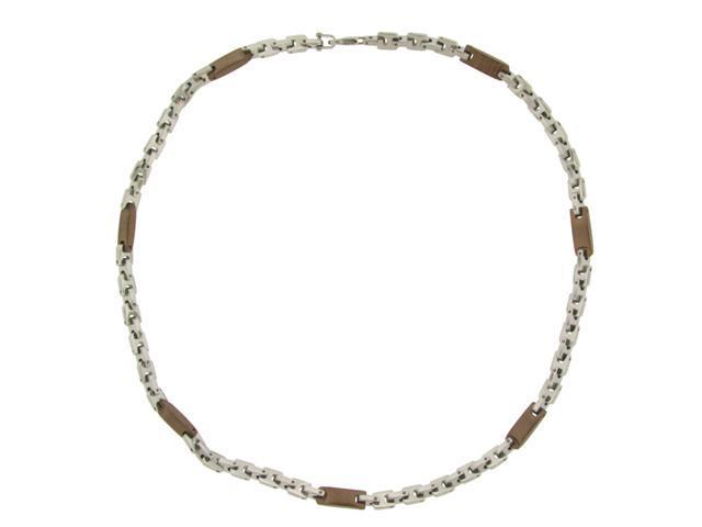 Stainless Steel Necklace with Choclate Links 22""