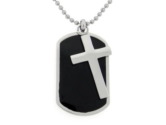 Stainless Steel Two Piece Dog Tag with Resin and Cross