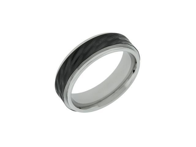 Stainless Steel Ring with Black Ion Plating and Hammer Finish