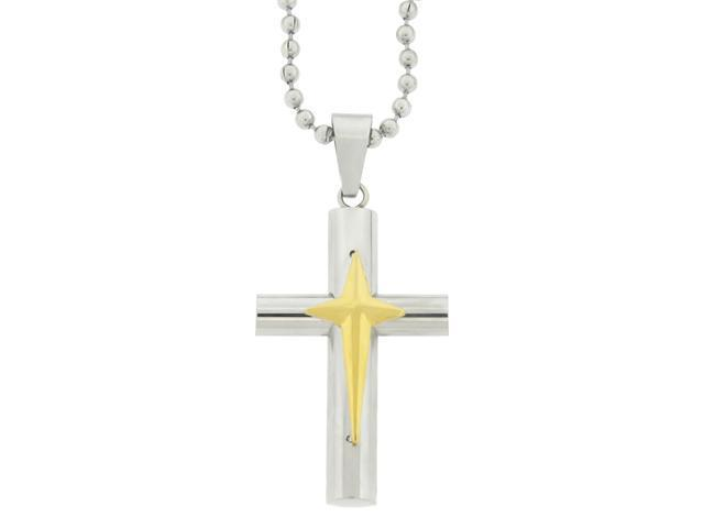 Stainless Steel Cross Pendant with Gold Ion Plating