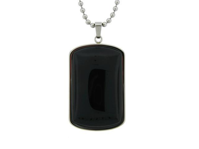 Stainless Steel Dog Tag with Black Onyx