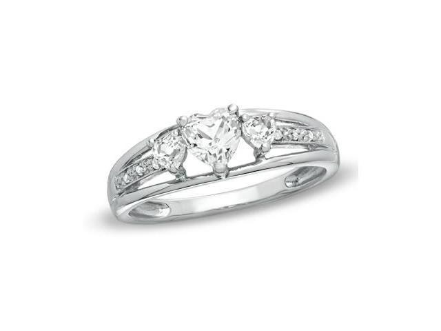 Heart Shape White Topaz & Diamond Ring