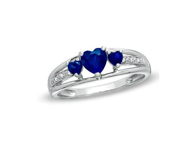 Heart Shape Created Sapphire & Diamond Ring