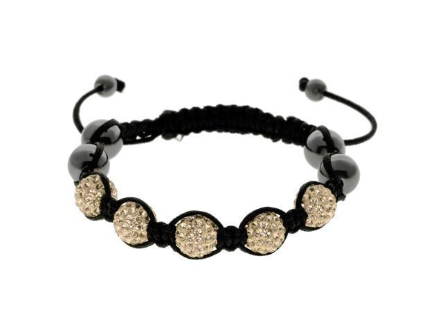 Gold Crystals on Black String Adjustable Bracelet