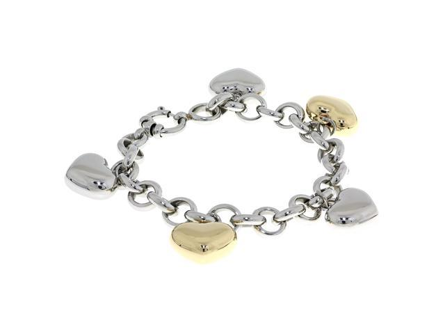Metro Jewelry Stainless Steel Heart Charm Bracelet with Gold Ion Plating