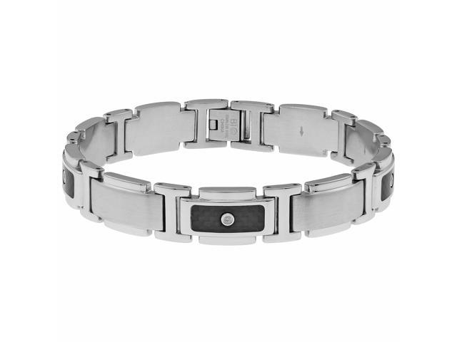 Metro Jewelry Stainless Steel Bracelet Carbon and 1/10 CTTW Diamonds
