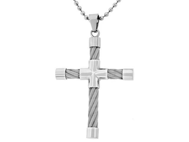 Metro Jewelry Stainless Steel Cross Pendant Cable on a 22