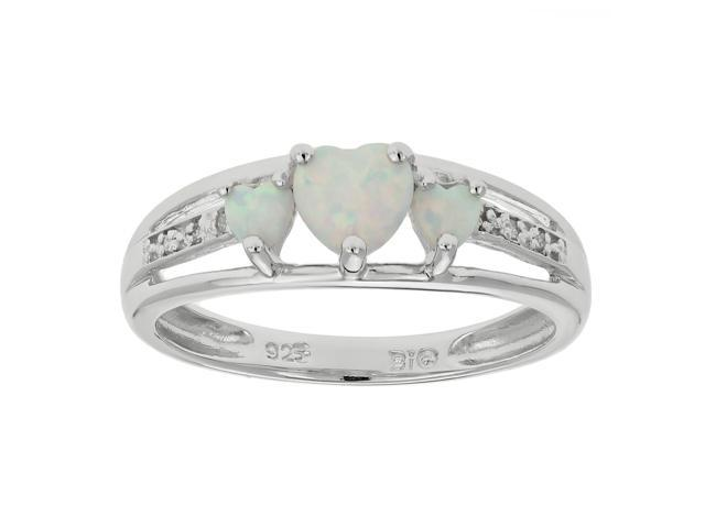 Metro Jewelry Women's Sterling Silver Ring with Created Opal and Diamond Size 5