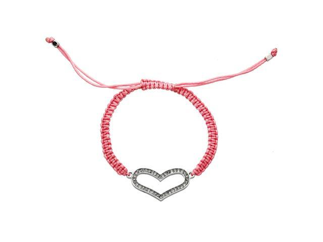 Pink Cord Adjustable Bracelet with Crystals Heart Charm