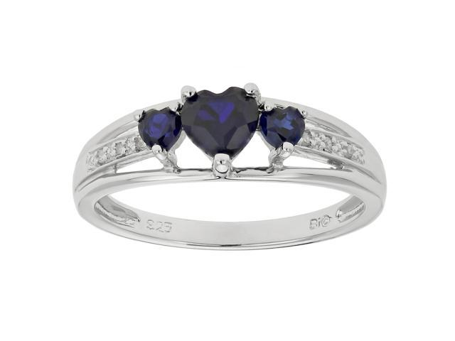Metro Jewelry Women's Sterling Silver Ring with Created Sapphire and Diamond Size 5