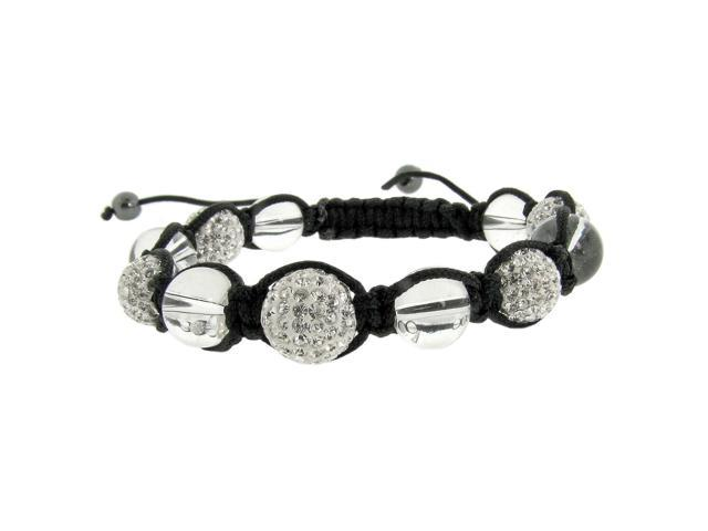 White Crystal & Clear Bead String Bracelet
