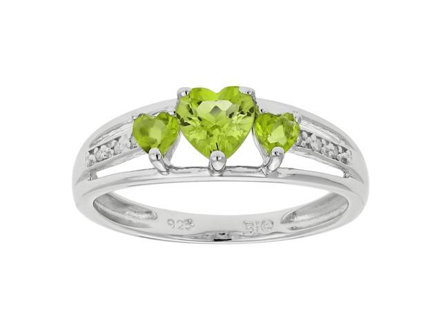 Metro Jewelry Women's Sterling Silver Ring with Peridot and Diamond Size 6