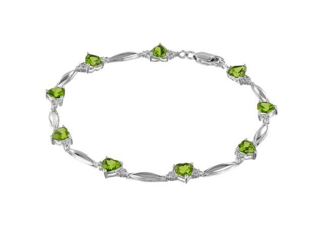 Metro Jewelry Women's Sterling Silver Bracelet with Peridot and Diamond