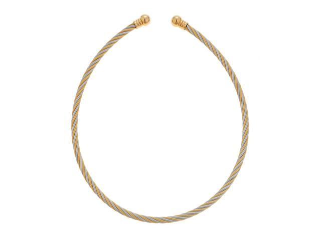 Metro Jewelry Stainless Steel and Cable Necklace with Gold and Silver Ion Plating