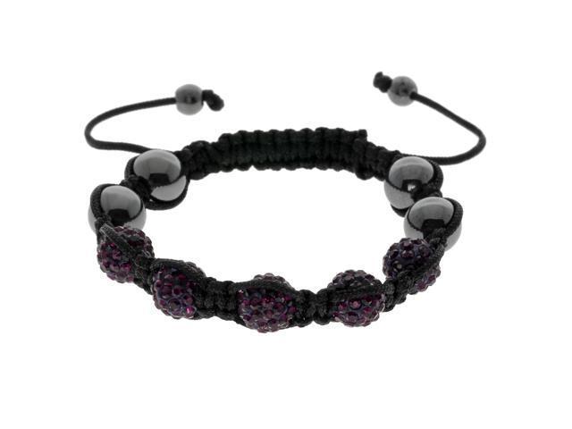 Dark Purple Crystals on Black String Adjustable Bracelet