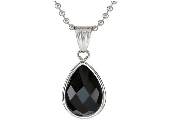 Metro Jewelry Stainless Steel Pendant Necklace with Black Onyx