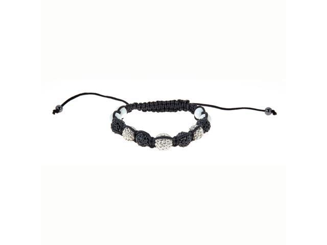 Black & White Crystal Bracelet with White Beads on Adjustable Black String