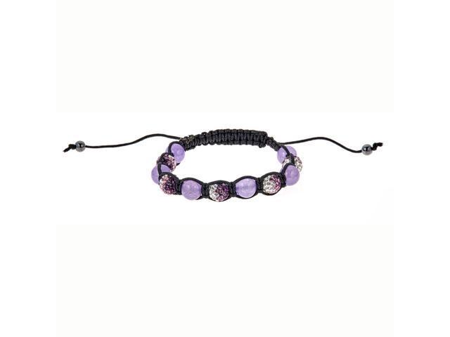 Purple Crystal & Purple Bead Bracelet on Black String