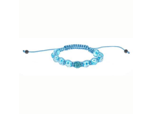 Blue Crystal & Blue Beads on Blue String Bracelet