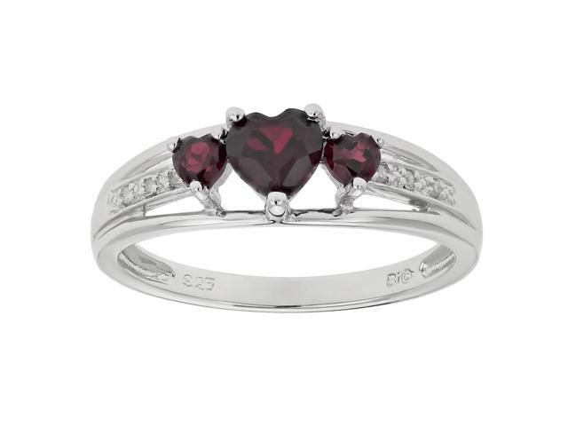Metro Jewelry Women's Sterling Silver Ring with Garnet and Diamond Size 7