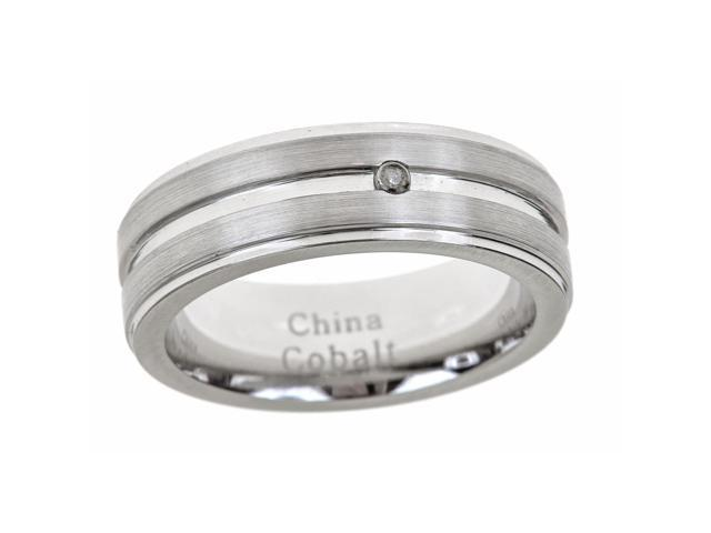 Men's 7mm Cobalt Ring with Single Row Bezel and .01 TW Diamond, Sizes 8-12