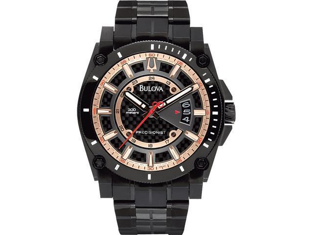 Bulova Precisionist Charcoal Grey Dial Black PVD Bracelet Mens Watch 98B143