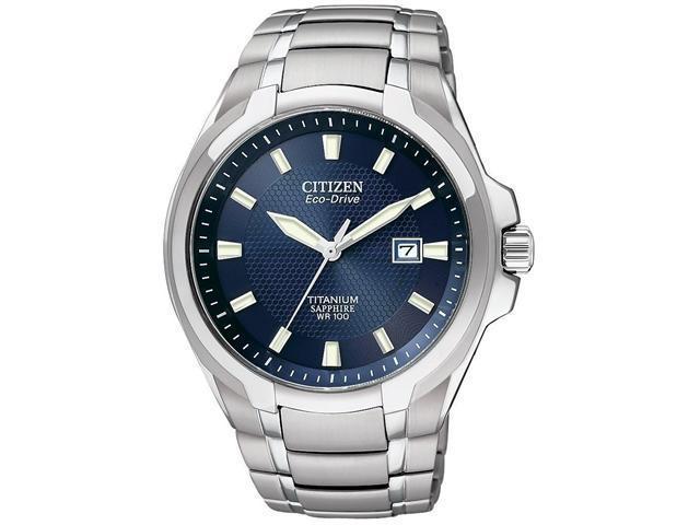 Citizen Eco-Drive Blue Dial Titanium Mens Watch BM7170-53L