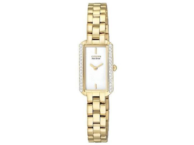 Citizen EG2782-53A Gold Tone Stainless Steel Silhouette Eco-Drive Swarovski Crystals White Dial