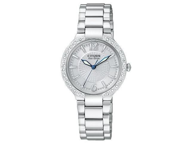 Citizen EP5970-57A Stainless Steel Firenza Eco-Drive Diamond Bezel Silver Dial Sapphire