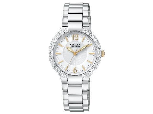 Citizen EP5974-56A Stainless Steel Firenza Eco-Drive Diamond Bezel White Dial Sapphire