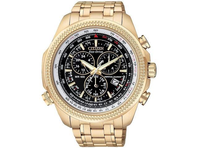 Citizen Perpetual Calendar Chrono Black Dial Rose Gold-Tone Watch BL5403-54E