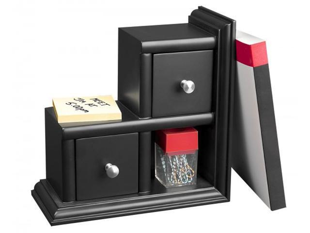 Reversible Wood Bookend with Drawers 9.1 x 4.2 x 9.1 Black
