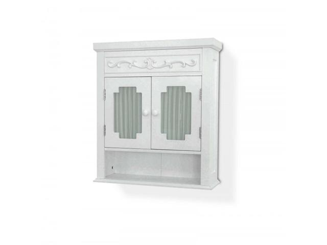 Lisbon Wall Cabinet - Double Door Cabinet w Glass Panels - by Elite Home Fashions