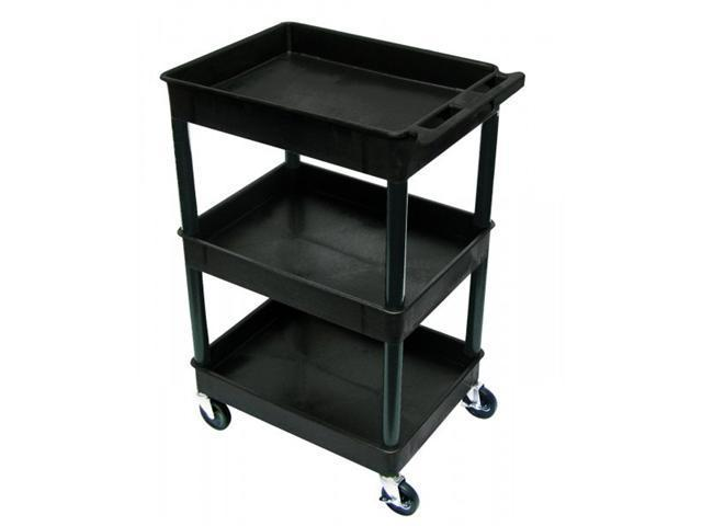Luxor Mobile Black Rolling Commercial Heavy-Duty Multi-Purpose Service Utility Cart With 3 Shelf, 4 Casters