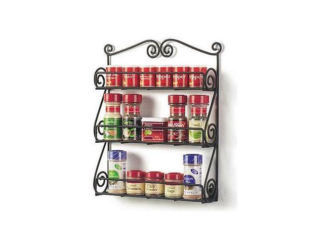 3-Tier Metal Spice Rack - Scroll - Black Matte - by Spectrum