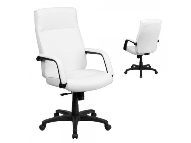 Flash Furniture High Back White Leather Executive Office Chair with Memory Foam Padding [BT-90033H-WH-GG]