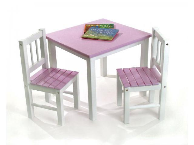 Kids Table & Chair Set-Table & Two Chairs - Pink - by Lipper